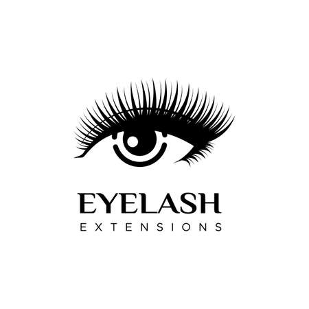 Eyelash extension logo. Vector illustration in a modern style with an eye with long lashes.