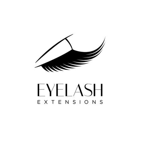 Eyelash extension logo with closed eye with long eyelashes. Vector illustration in a modern style.