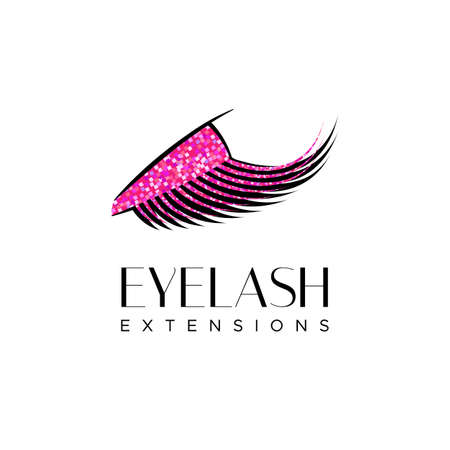 Eyelash extension logo. closed eye with Makeup and pink glitter. Vector illustration in a modern style