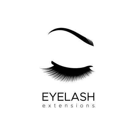 Eyelash extension logo with closed eye and eyebrows. Vector illustration in a modern style