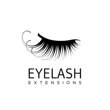 Eyelash extension logo with closed eye with long lashes. Vector illustration in a modern style