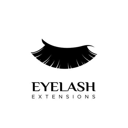 Eyelash extension logo with closed eye. Vector illustration in a modern style Çizim
