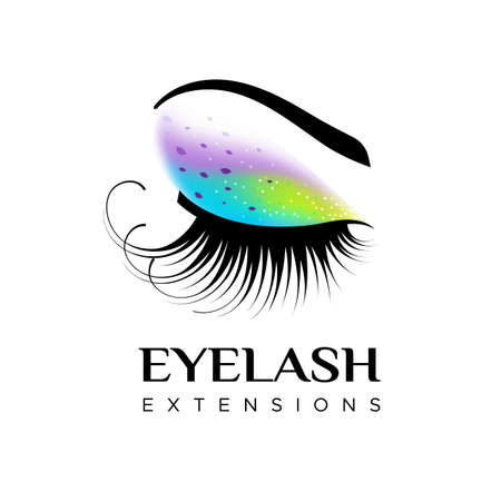 Eyelash extension logo with closed eye with Makeup and colored glitter. Vector illustration in a modern style Иллюстрация
