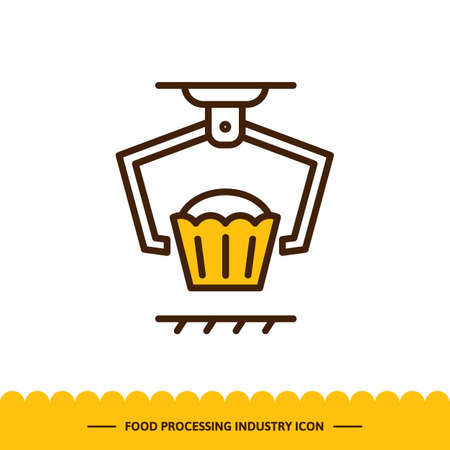 Food processing industry icon, Automated line confectionery. Vector illustration in modern style with cupcake.