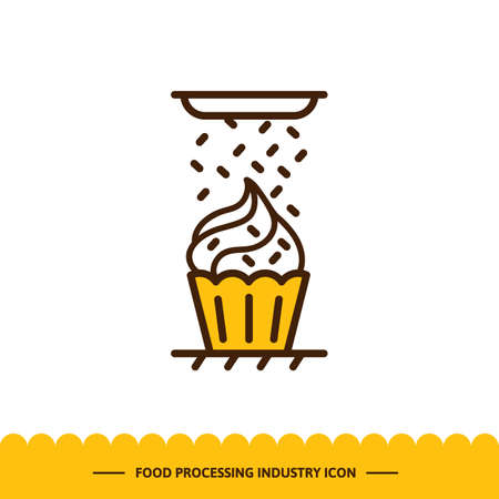 Food processing industry icon, Automated line confectionery. Vector illustration in modern style with cake and sprinkles.