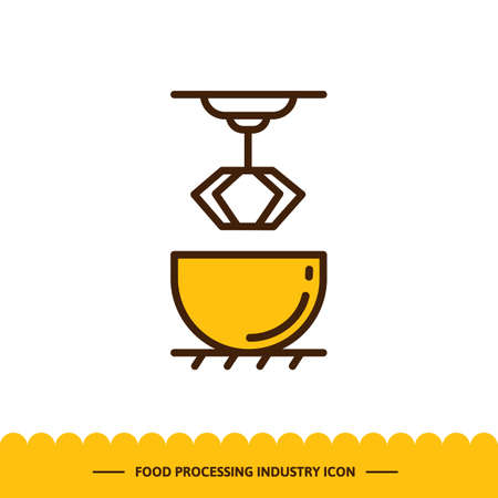 Food processing industry icon, Automated line confectionery. Vector illustration in modern style with cake mixer.