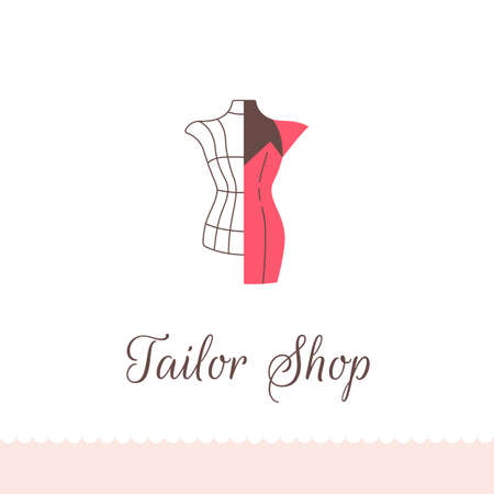 Logo for tailor shop, dressmakers salon, sewing studio, clothing store and fashion designer. Vector illustration.