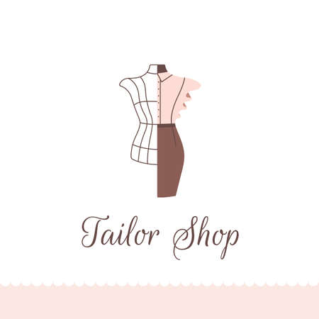 Logo for tailor shop, dressmakers salon, sewing studio, clothing store and fashion designer.