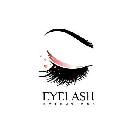 Logo de extensión de pestañas. Maquillaje con un tono perla. Ilustración de vector en un estilo moderno