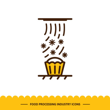 Food processing industry icon. Automated line of confectionery at the factory. The cooling process of baking. Vector illustration in modern style Иллюстрация