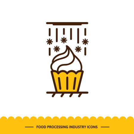 Food processing industry icon. Automated line of confectionery at the factory. The process of cooling cupcake. Vector illustration in modern style