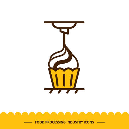 Food processing industry icon. Automated line of confectionery at the factory. The process of adding jam. Vector illustration in modern style
