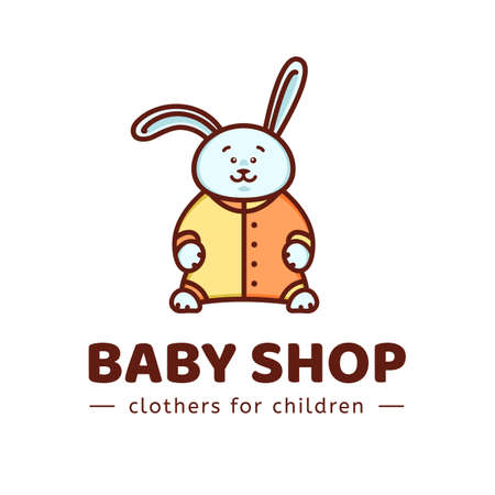 baby shop. Vector template of the brand for the designer. The element of the corporate style for Studio sewing and tailoring. Bunny in overalls. Illustration in cartoon style