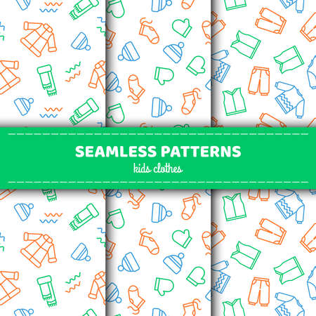 A set of seamless patterns with childrens clothes. Vector illustration in a linear style.