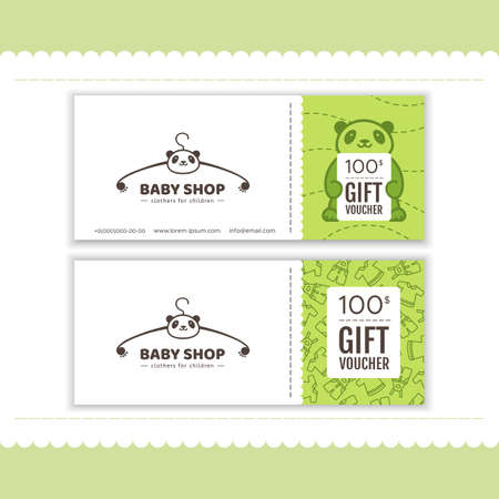 Gift voucher for baby shop. The logo with the head Panda. Vector illustration in cartoon style Çizim