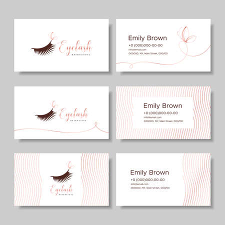Branding for salon eyelash extension, shop cosmetic products, lashmaker, stylist. Logo, business card. Design with graphic elements of pink gold. Vector illustration in modern style Ilustração