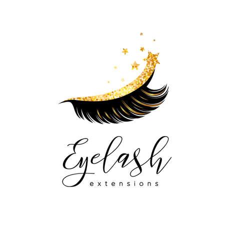 Wimperverlenging logo. Make-up met gouden glitter. Vector illustratie in een moderne stijl