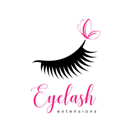 Eyelash extension logo. Makeup with pink butterfly. Vector illustration in a modern style Stock Illustratie