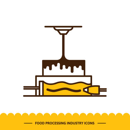 Food processing industry icon. Automated line confectionery. The robotic process of making cake. Vector illustration in modern style