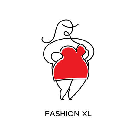 Logo for Atelier, store womens clothing large size. Vector template of the brand for the fashion designer. Element for Studio sewing and tailoring. Abstract fat woman in red dress