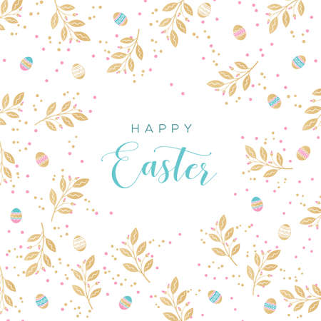 Happy Easter - greeting card. Unique design with branches and Golden Easter eggs. Vector illustration in modern style