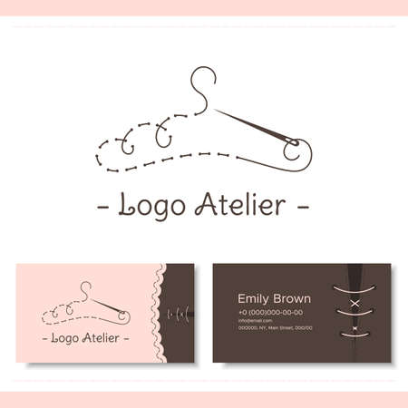 Branding for the fashion designer, Atelier, wedding boutique, womens clothing store, studio sewing and tailoring. Logo, business card. Stylized hanger from thread and needle