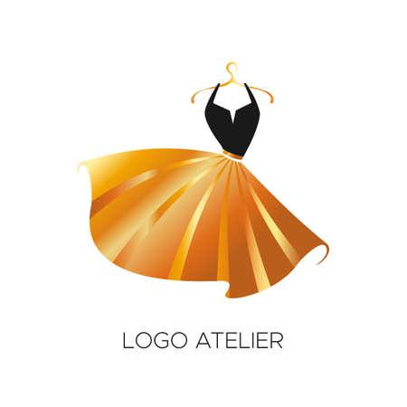 Logo per Atelier, negozio di abbigliamento femminile. Modello di vettore del marchio per lo stilista. Elemento per cucito e sartoria in Studio. Design del vestito nero e oro