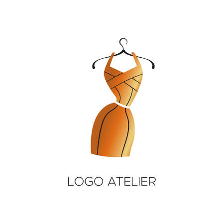 Logo for Atelier, womens clothing store. Vector template of the brand for the fashion designer. Element for Studio sewing and tailoring. Gold bandage dress with black lines