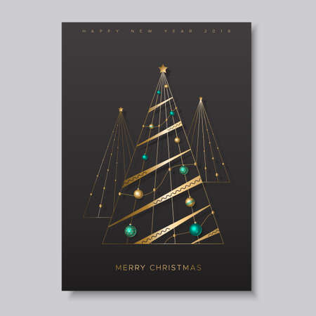 Holiday card with three stylized Christmas trees and colorful shiny balls Ilustração