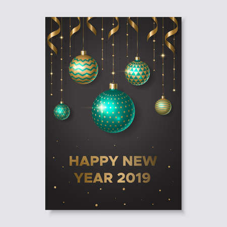 New year card with shiny balls and gold ribbons Ilustração