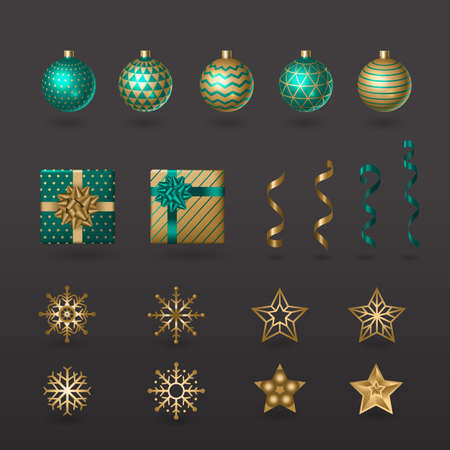 Set of Christmas elements for typographic design. Balls, gifts, ribbons, stars and snowflakes in festive design