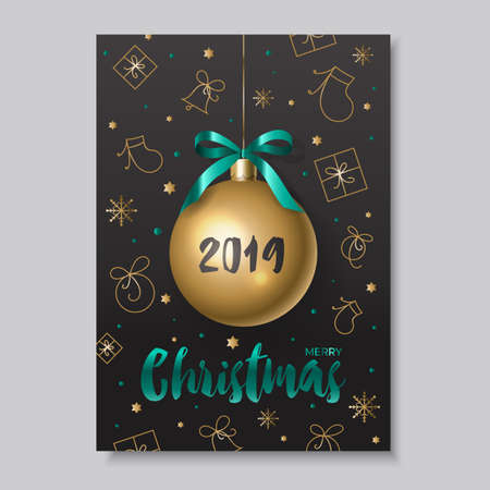 Christmas card with a Golden ball on the background of various new-year elements