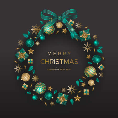 Festive wreath with gifts and Christmas elements on black background. Vector illustration in modern style