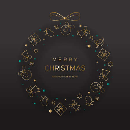Wreath of Golden Christmas elements Illustration