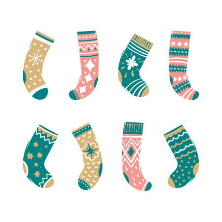 Set of colorful Christmas socks. Vector illustration in cartoon style Иллюстрация