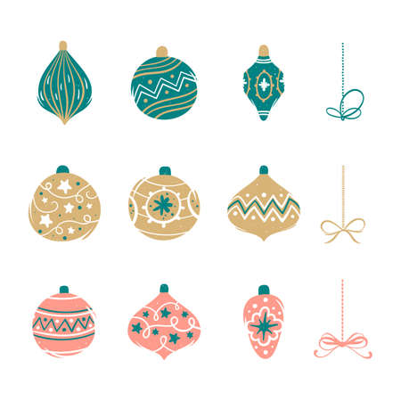 Set of colorful Christmas balls. Vector illustration in cartoon style