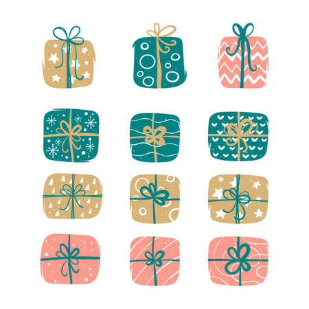 Set of Christmas gifts in colorful festive packaging Ilustração