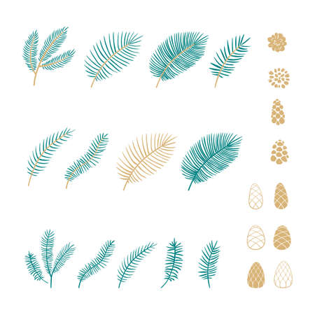 Set of pine branches and cones in cartoon style