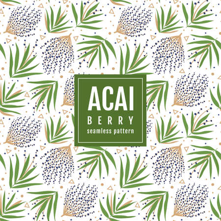 Seamless pattern of the branches of acai berry and tropical leaves on a white background. Vector template packaging design beauty products