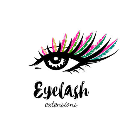 Eyelash extension illustration. Makeup with multicolored feathers.