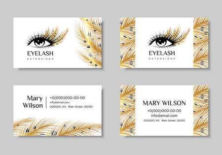 Branding for salon eyelash extension, shop cosmetic products, lash maker, stylist. Business card. Design with Golden feathers. Illustration
