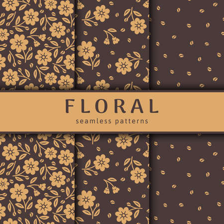 Set of seamless flower patterns. Gold stylized flowers on brown background. Vector template packaging design beauty products