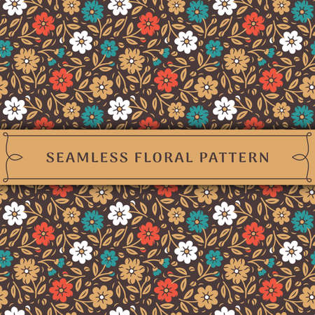 Seamless floral pattern. Orange, blue, white and gold flowers on brown background. Vector illustration in modern style