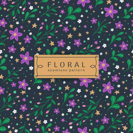 Seamless floral pattern. Multicolored flowers with green leaves on blue background. Vector illustration in modern style