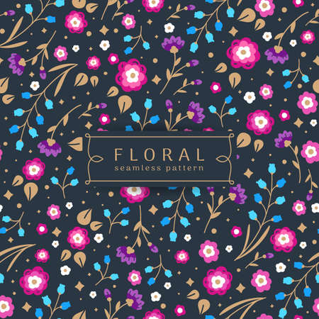Seamless floral pattern. Multicolored flowers with Golden leaves on blue background. Vector illustration in modern style