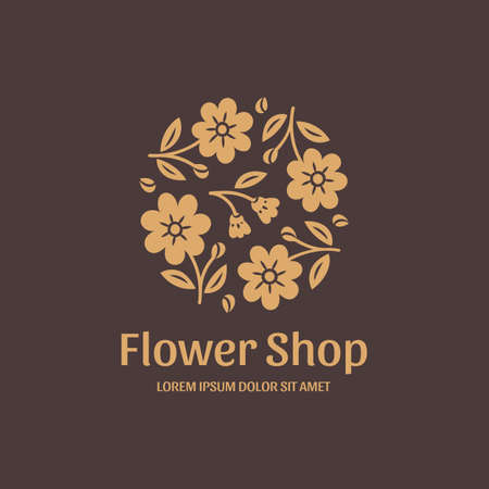 illustration for flower shop. Stylized gold flowers on brown background. Vector illustration in modern style.