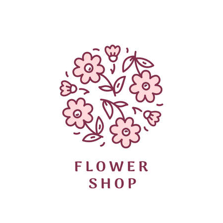 illustration icon for flower shop. Vector illustration in linear style