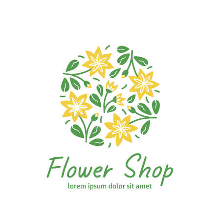 Icon for flower shop. Stylized yellow flowers on white background. Vector illustration in modern style Çizim