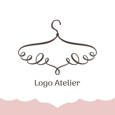 Logo for Atelier, wedding boutique, womens clothing shop. Vector template of the brand for the fashion designer. Stylized hanger of twisted lines Ilustração