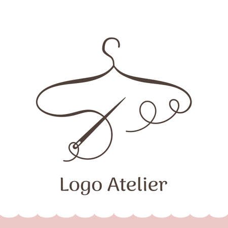 Logo for Atelier, wedding boutique, women's clothing shop. Vector template of the brand for the fashion designer. Element for Studio sewing and tailoring. Stylized hanger from thread and needle